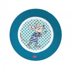 Flat tallerken Cirkeline gutt blå